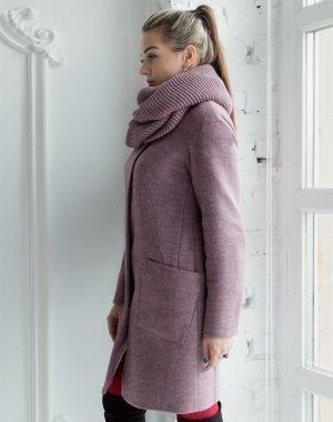 Женское пальто В-71 утепленное кашемир Феникс чайная роза