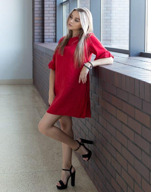 Платье ВП-67-К лен красный