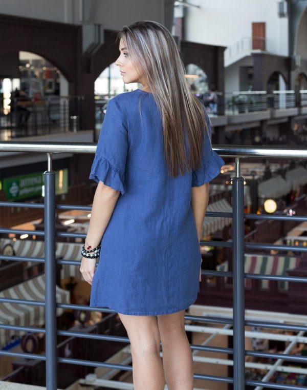 Платье ВП-67-К лен 573 синий джинс