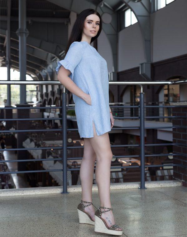 Платье ВП-67-К лен 270 голубой