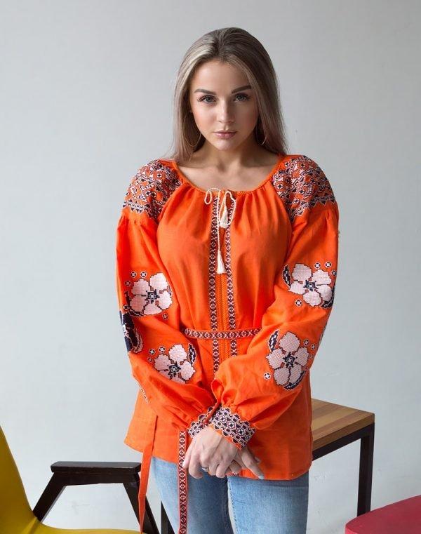 """Вышиванка женская """"Барвинок"""" лен оранжевый"""