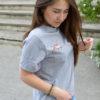 Футболка женская с вышивкой серый с вышивкой Лисичка