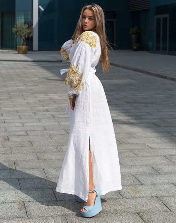 """Платье """"Житне поле"""" лен Д-88-3 длина белый"""