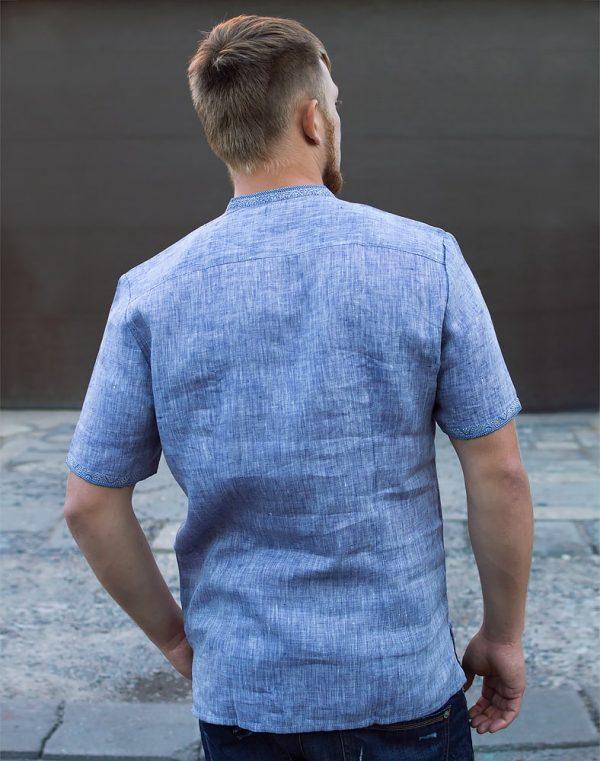 """Вышиванка мужская """"Колос"""" лен светлый джинс"""