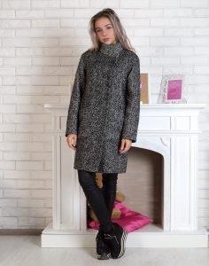 Пальто елка/букле утепленное черн/бел.