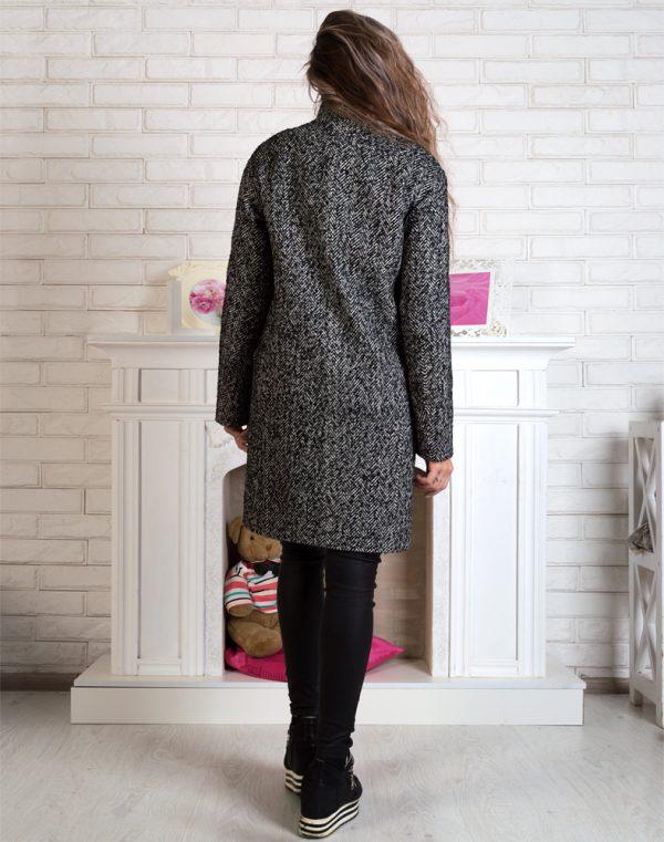 Женское пальто В-71 елка/букле утепленное черно-белое