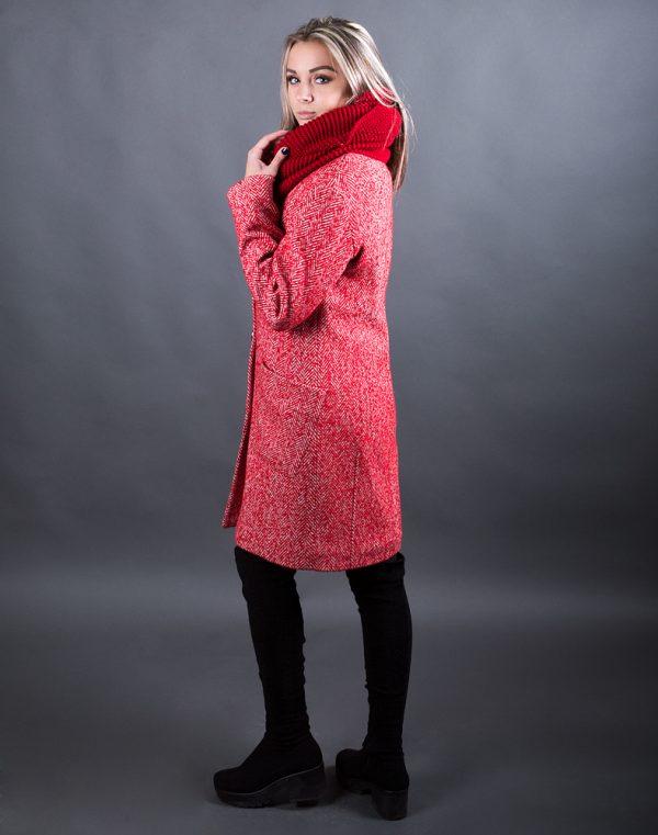 Женское пальто В-71 утепленное Елка/Букле красный