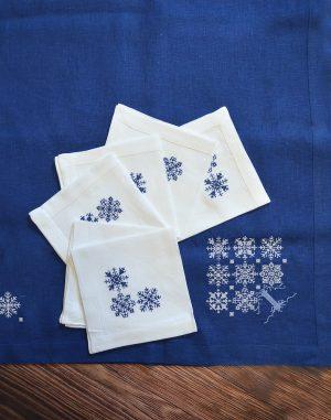 """Комплект столовый """"Дерево снежинок"""" 140х220 6х40х40  синий"""