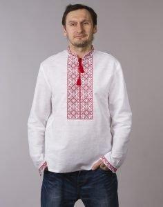 Вышиванка мужская «Віктор» лен белый, красный, черный