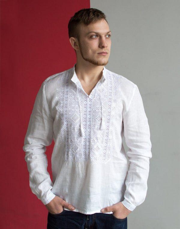"""Вышиванка мужская """"Парубок"""" лен белый"""