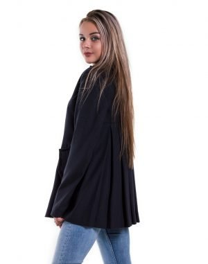 Пальто женское К-161 Корсетка кашемир черный