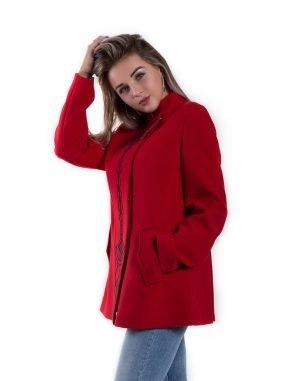 Пальто женское К-161 Корсетка кашемир красный
