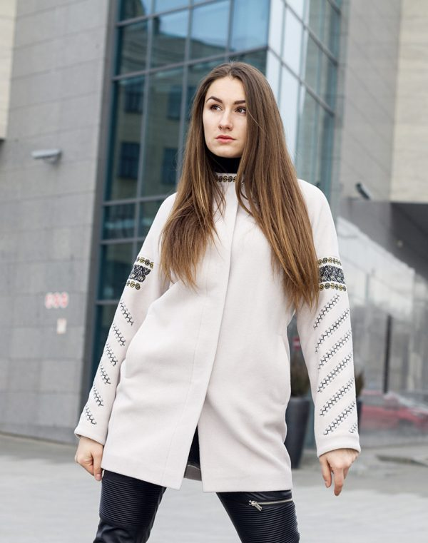 Пальто женское К-153  кашемир бежевый