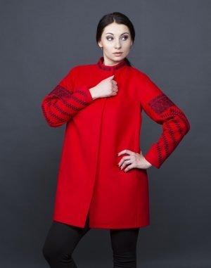 Пальто женское К-153  кашемир красный