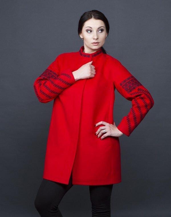 Пальто женское К-153  красный