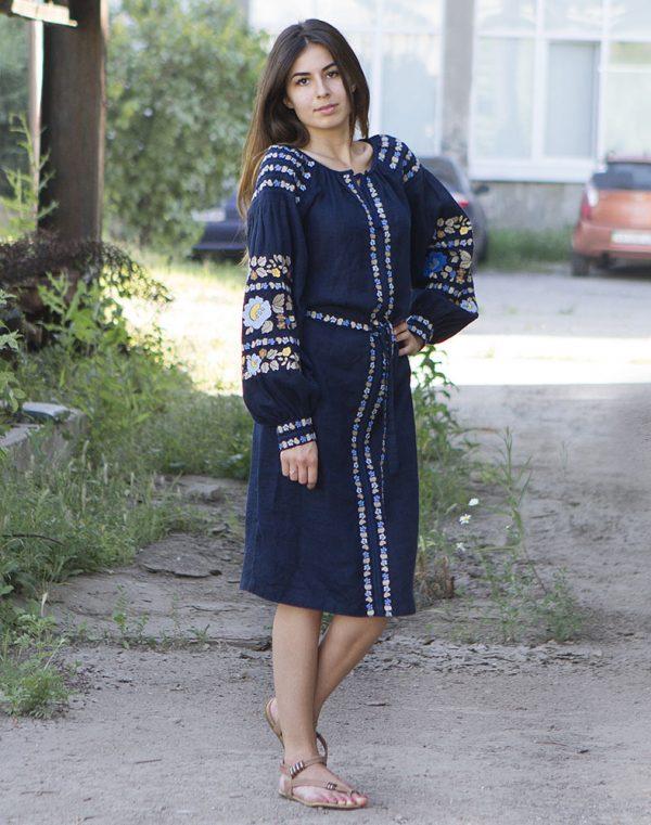 """Платье """"Борщівські барви"""" лен Д-88-1 синий"""