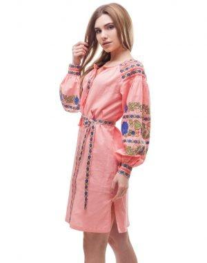 """Платье """"Борщівські барви"""" лен Д-88-1 малина"""