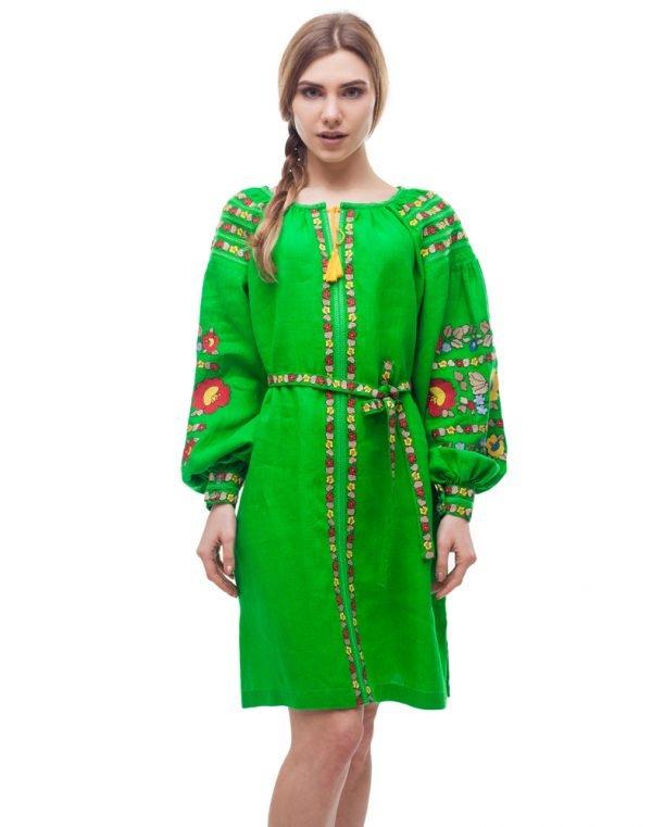 """Платье """"Борщівські барви"""" лен Д-88-1 зелений (малюнок)"""