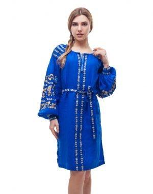 """Платье """"Борщівські барви"""" лен Д-88-1 электрик"""