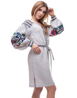 "Платье ""Борщівські барви"" лен Д-88-1 серый"