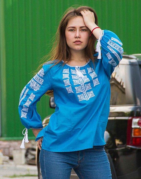 "Вышиванка женская ""Анабель"" батист голубой"