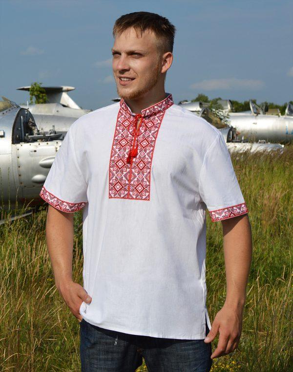 """Вышиванка мужская """"Віктор"""" лен белый"""