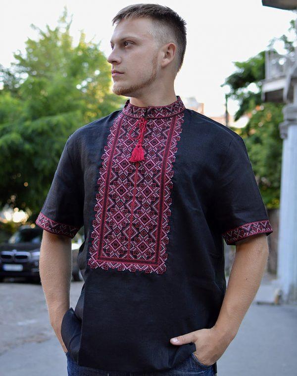 """Вышиванка мужская """"Віктор"""" лен черный"""