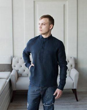ВП-125 Мужская сорочка лен синий