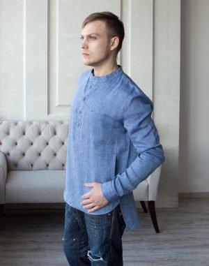 ВП-125 Мужская сорочка лен джинс