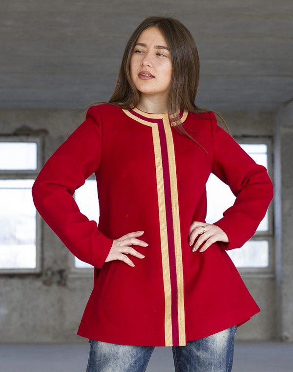 Пальто женское К-172 Берегиня кашемир красный