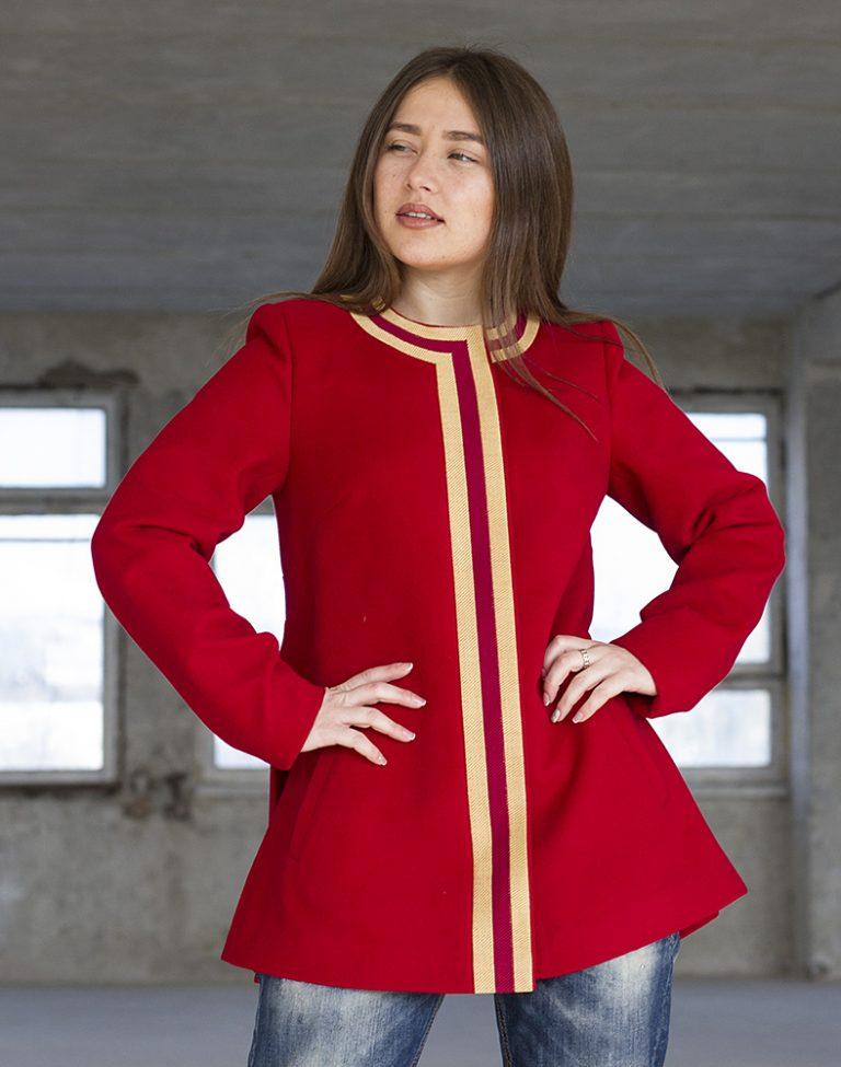 """Пальто женское """"Берегиня"""" кашемир красный"""
