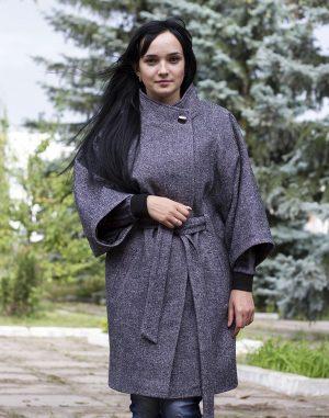 Женское пальто К-163 Кашемир светло-серый меланж