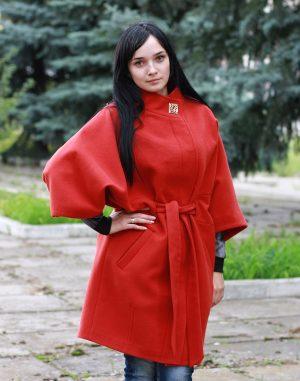 Женское пальто К-163 Кашемир терракот