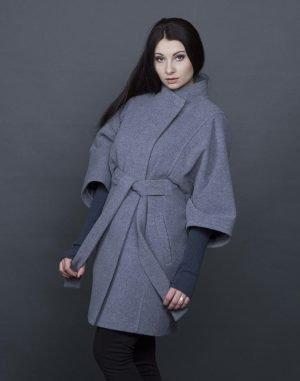 Женское пальто К-163 Кашемир темно-серый меланж