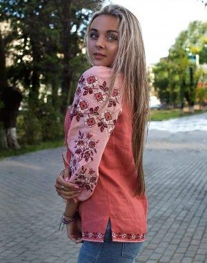 """Вышиванка женская """"Біла квітка"""" лен персик"""