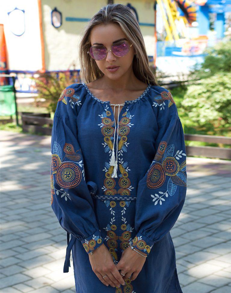 """Платье """"Квітуче коло"""" лен  синий"""