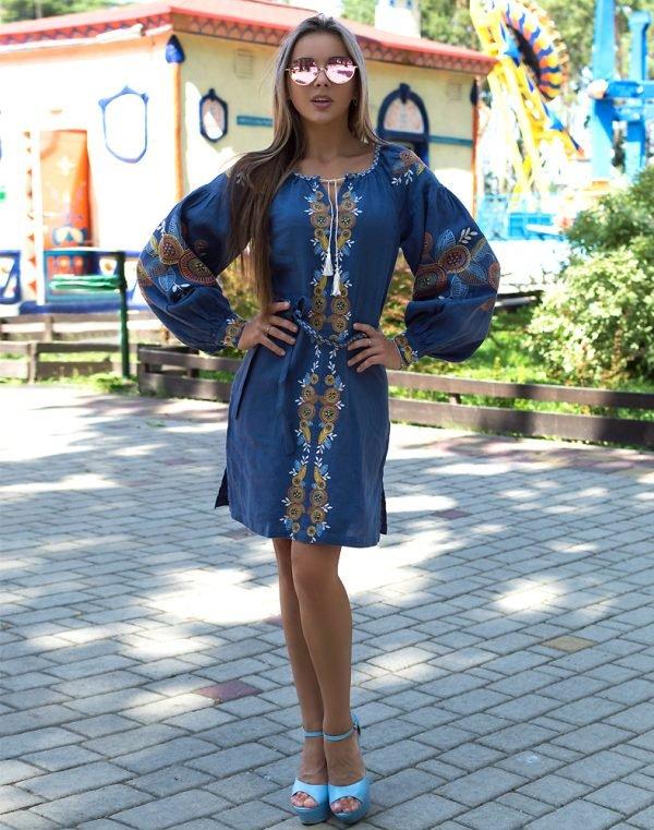 """Платье """"Квітуче коло"""" лен Д-88-1 длина синий"""