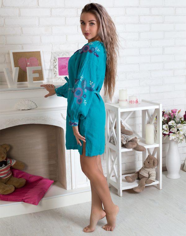 "Платье ""Квітуче коло"" лен Д-88-1 длина бирюзовый"