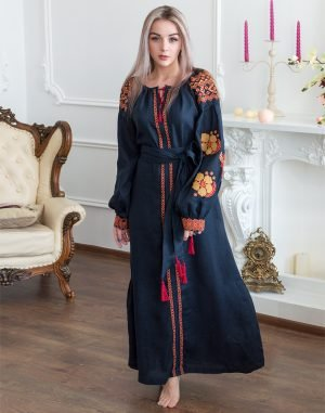 "Платье ""Барвінок"" лен Д-88-4 длина синий темный"