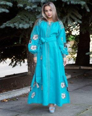 "Платье ""Барвінок"" лен Д-88-4 длина бирюза"