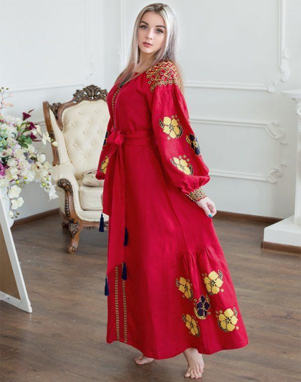 """Платье """"Барвінок"""" лен Д-88-4 длина красный"""