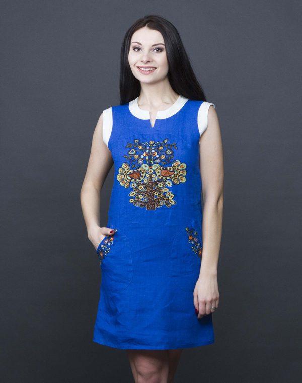 """Платье """"Пташка літа"""" лен синий"""