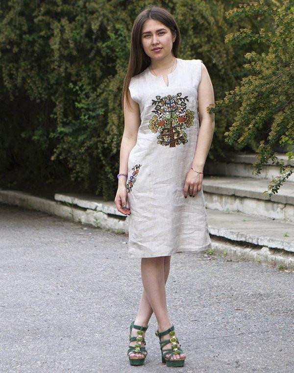 "Платье ""Пташка літа"" лен беж"