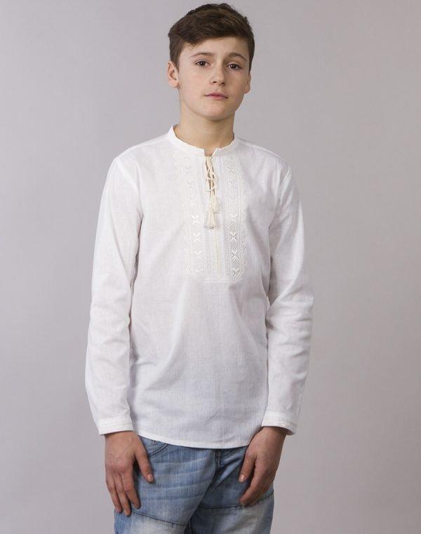"""Вышиванка для мальчиков """"Дубочок"""" ДР хлопок 122-140 белый"""
