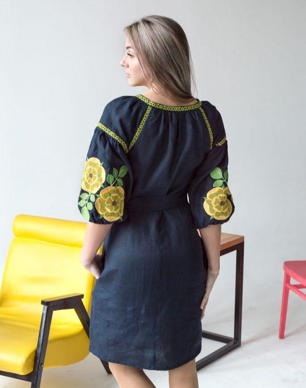 """Платье """"Жовта квітка"""" лен темно-синий"""