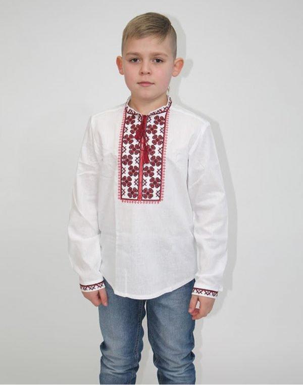 """Вышиванка для мальчиков """"Васильок"""" ДР хлопок 122-140 белый"""