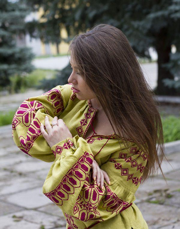 """Вышиванка женская """"Киянка"""" лен горох"""