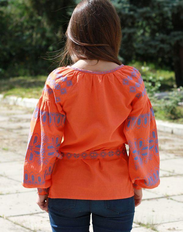 """Вышиванка женская """"Киянка"""" лен оранжевый"""