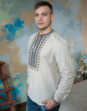 """Вышиванка мужская """"Гетьман"""" лен бежевый"""