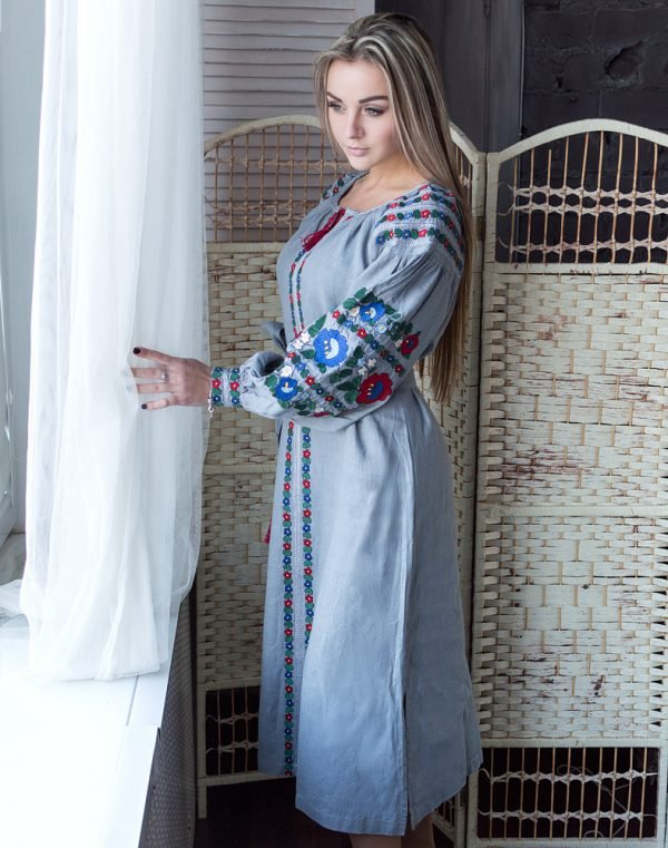 """Платье """"Борщівські барви"""" лен Д-88-2 длина темно-серый"""
